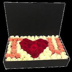 """подарок с доставкой 101 роза в коробке """"I love you"""""""