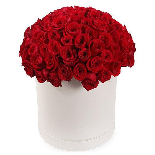 букет 101 роза красная в шляпной коробке