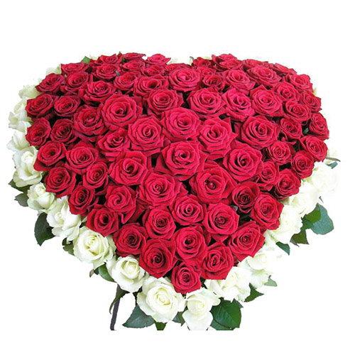товар 101 роза сердцем - красная, белая