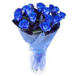 картинка 17 синих роз (крашеных)