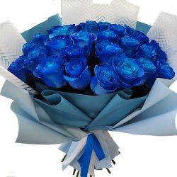 картинка 33 синие розы (крашеные)