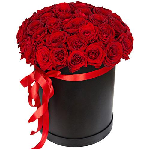 картинка 51 роза красная в шляпной коробке
