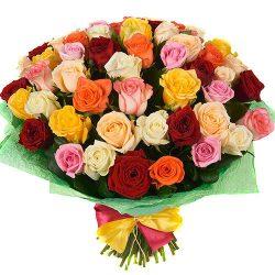 51 роза микс разноцветный букет