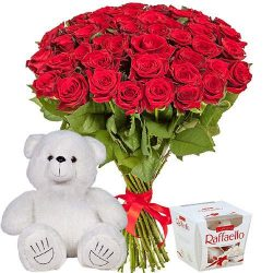"подарки в киеве 51 роза, мишка и ""Raffaello"" картинка"