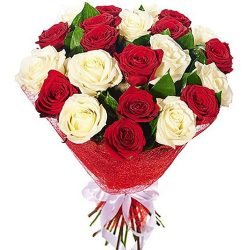 """Букет """"Соблазн"""" белые и красные розы"""