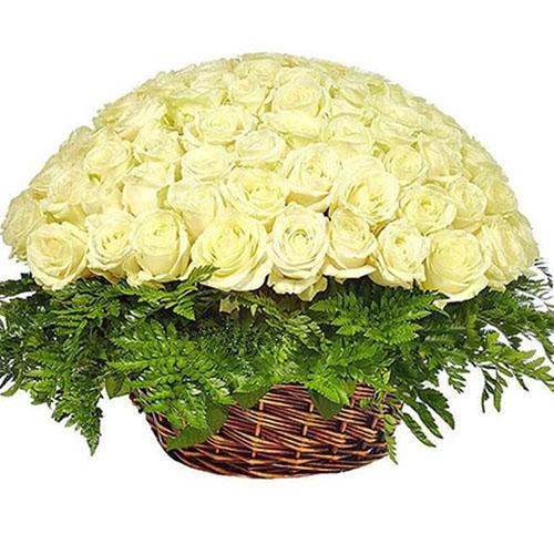 товар Корзина 101 белая роза