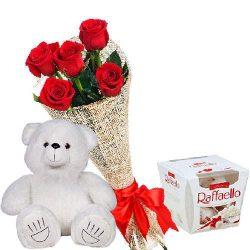 """подарунок з доставкою Ведмедик з букетом троянд і """"Raffaello"""""""