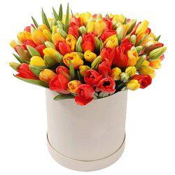 картинка 101 тюльпан в шляпной коробочке