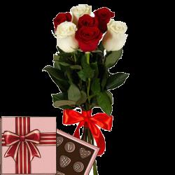 подарок 7 роз микс с конфетами