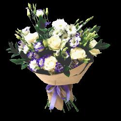 """Букет """"Искушение любовью"""" розы, эустомы, хризантемы"""