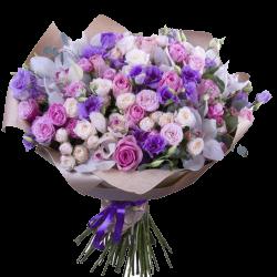 """Букет """"Небеса любви"""" микс цветов в сиреневых тонах"""